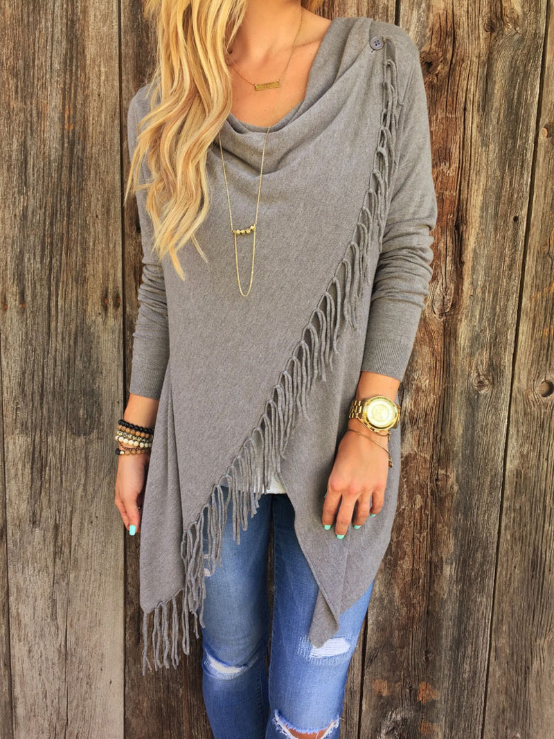 2016 New Style Grey Tassel Sweater Women Long Sleeve Black Pink Knitted Loose Casual Irregular Poncho Outwear Wrap Fringe(China (Mainland))