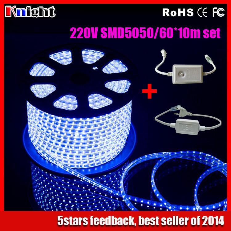 220v led strips 10m,led rgb 5050 strip set RGB Blue white warmwhite led strip set+plug/remote controller,led 5050 strip 230v 10m(China (Mainland))