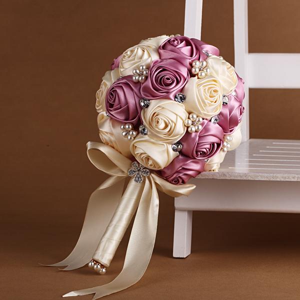 High Quality Wedding Bouquet Bridesmaids Flowers Artificial Silk