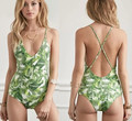 New Green leaf one piece swimwear print leaves one piece swimsuit backless monokini high cut bathing