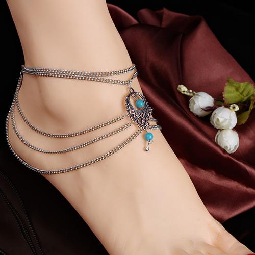 Новый стиль Boho бирюзовый бусины ножной браслет кистями цепи босиком браслет ног ...