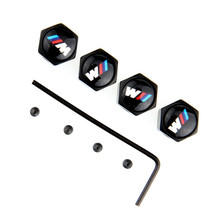 2015 Hot 4PCS Metal Car Wheel Tyre Stem Air Cover Valve Caps Anti Theft Fit For BMW series M black