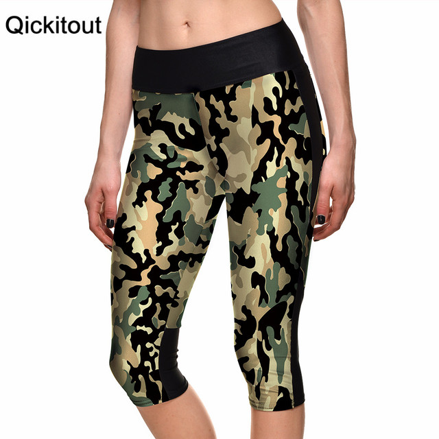 2015 женщин 7 точка брюки женские леггинсы символ камуфляж военная цифровой печать ...