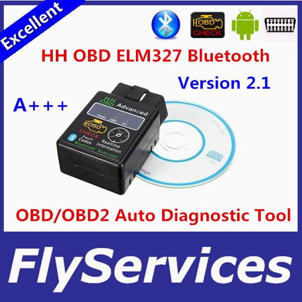 Latest Design HH OBD MINI ELM327 V2.1 Torque Android Bluetooth OBD2 OBDII CAN BUS Check Engine HH ELM 327 Auto ECU Code Scanner(China (Mainland))
