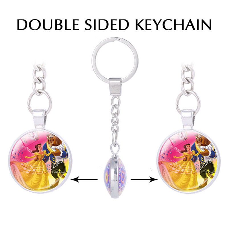 beauty and the beast double sided pendant keychain for