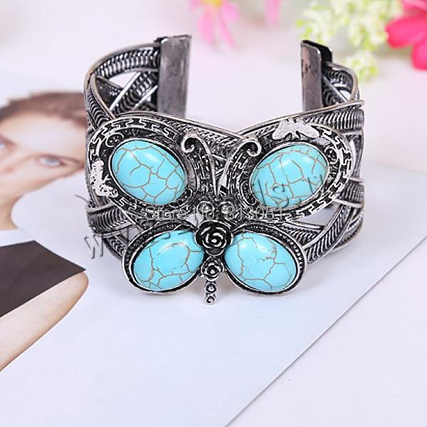 Free shipping!!!Zinc Alloy Cuff Bangle,chinese style, with turquoise, Butterfly, antique silver color plated, nickel<br><br>Aliexpress