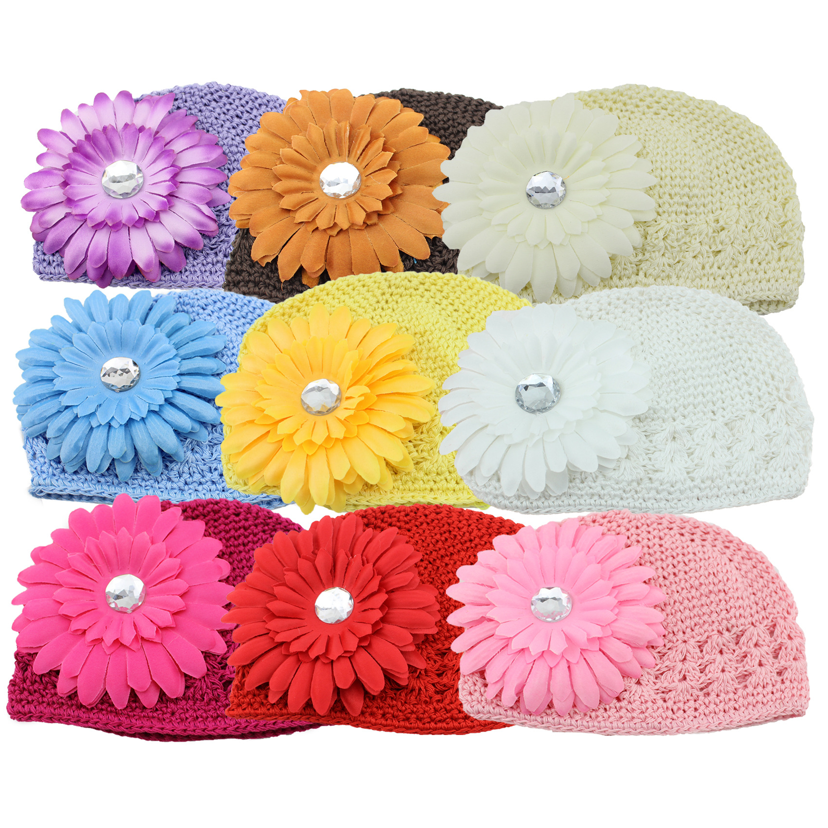 2016 Fashion Cute European Baby Accessories Gerbera Flower Hollow Hand Crochet Cotton Beanie Knitted HatОдежда и ак�е��уары<br><br><br>Aliexpress