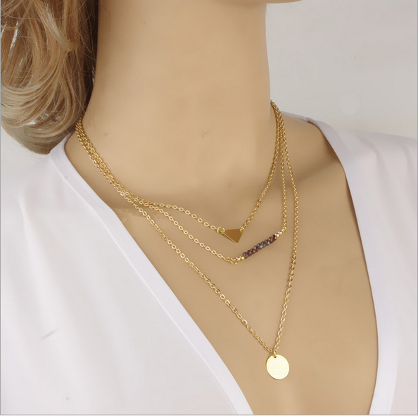 Free shipping Crazy Feng TOP sale 18k gold plated Necklace for Fashion Women Jewelry 3 rows Necklaces Pendants Chain Necklace(China (Mainland))