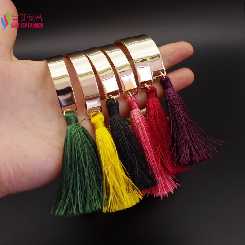 New Arrival wholesale Gold palted Cuff Bangles Fashion elegant Multi-color Tassel Charm Bracelets for Women pulseiras de couro(China (Mainland))