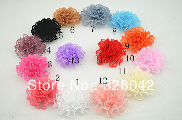 Trail order mini lace flower head fabric silk flower without clip flat back hair accessories 80pcs/lot