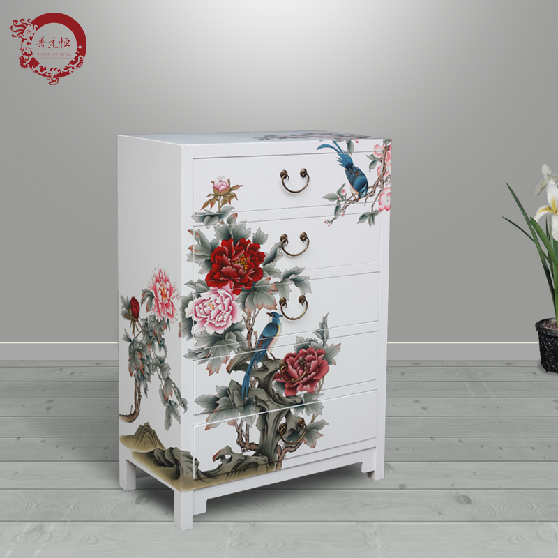 Jinyuan Heng New Chinese Hand Painted Wood Cabinets White