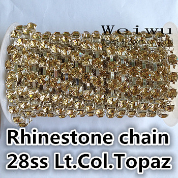 Best Quality 28ss 6.0-6.2mm 10 Yards Light Colorado Topaz Silver Base Sewing Strass Rhinestone Chain(China (Mainland))