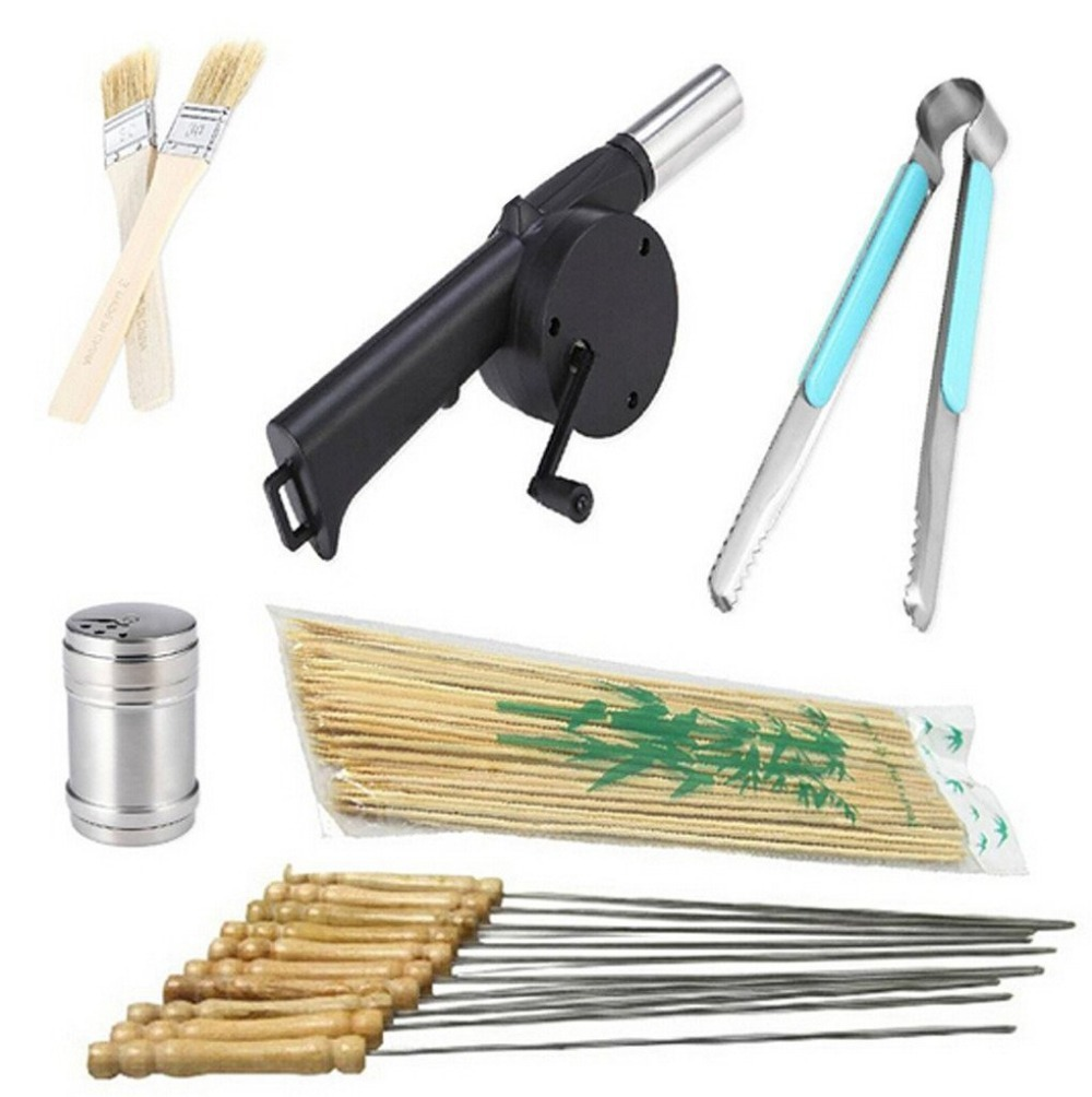 AB13107-A Primitive BBQ Tools 6 in 1 Kit : Skewers Fan Air Blower Food Grill Clip Tong Spice Bottle Oil Brush Bamboo Sticks(China (Mainland))