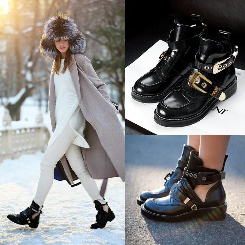 2016 New Designer gold buckle strap ankle boots platform women motorcycle boots patent leather fashion cutout black shoes A602(China (Mainland))