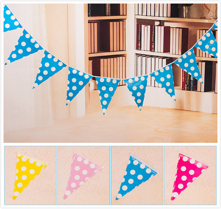 1set=10pcs small flags handmade Big Dot Blue Pink Party Bunting Flags/Banners/Pennants Outdoor Decoration 1 set including GYH(China (Mainland))