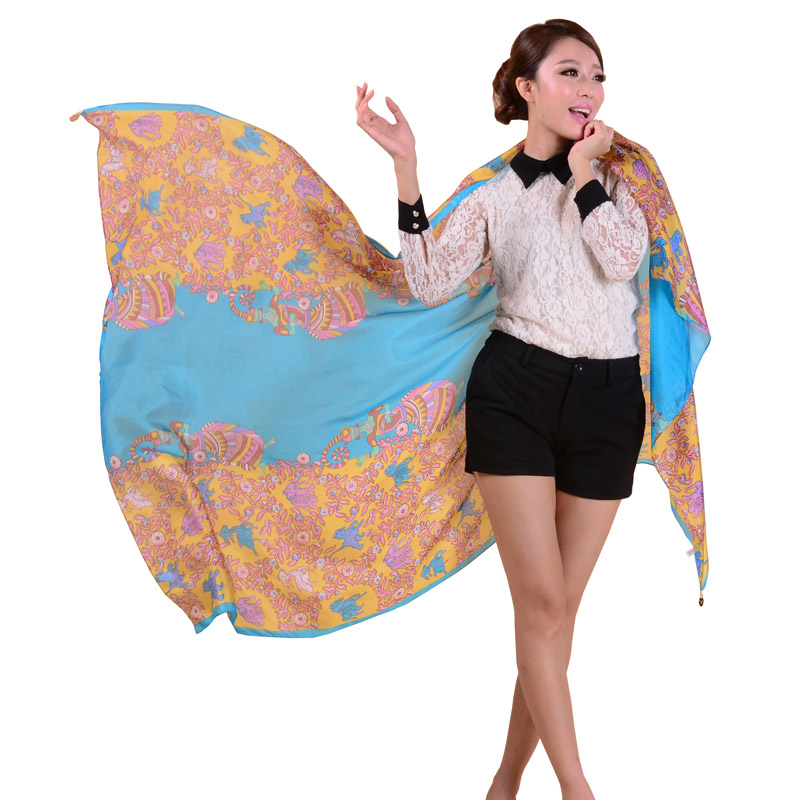 2014 Summer Women Silk Scarf Fashion Charm Women Mulberry Silk Long Silk Scarves Printed Fashion Royal Pattern Scarf Cape bwj32(China (Mainland))