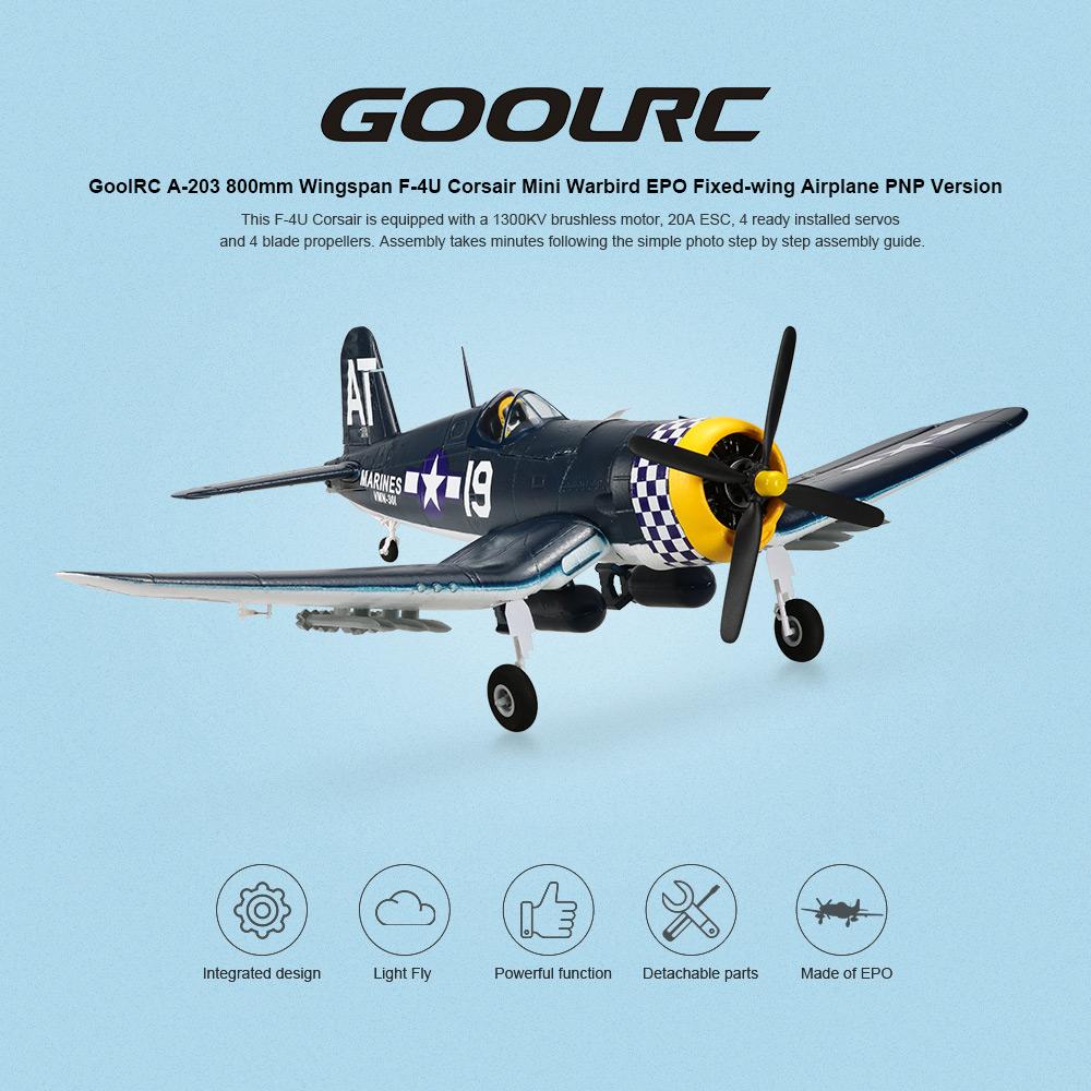 Original GoolRC A-203 800mm Wingspan F-4U Corsair Mini Warbird EPO Fixed-wing Aircraft PNP Version RC Airplane