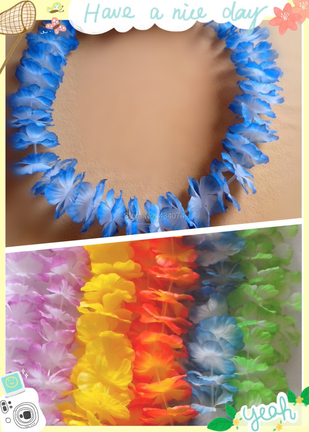 Blue Decorative flowers hawaiian flower lei white green hawaii wedding decoration artificial - Hawaii Lei Factory store