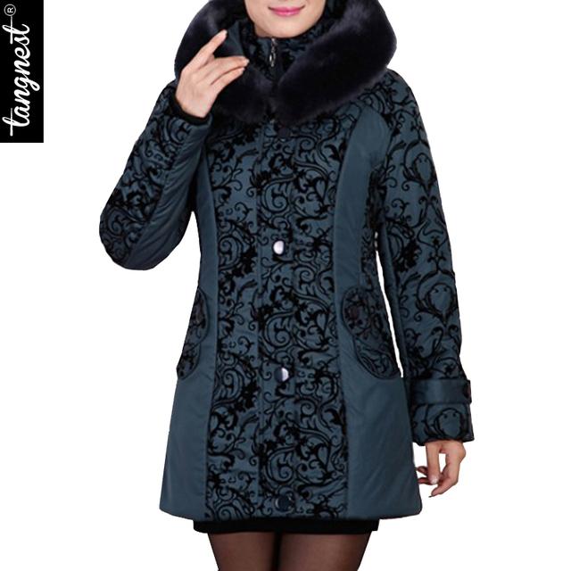 Зимняя куртка женщин 2016 среднего возраста с капюшоном из искусственного меха воротник ...
