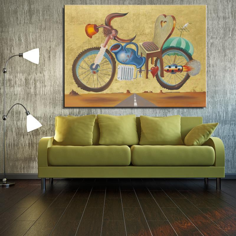 Motorcycle rocket vase Still life Abstract Home decor Spray drawing Canvas Oil Painting Frameless Scarf Unframed picture(China (Mainland))