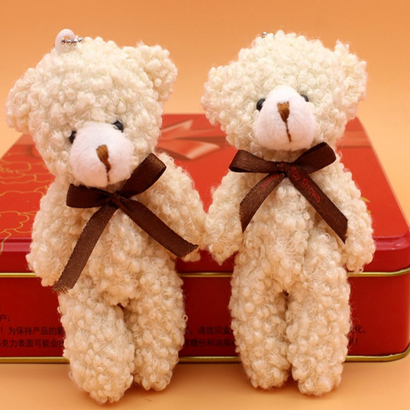 20pcs free shipping Plush Toy Cartoon12cm Curly Joint Bear Stuffed Animal Wedding Bouquet Flower Wrapping Material wholesale(China (Mainland))