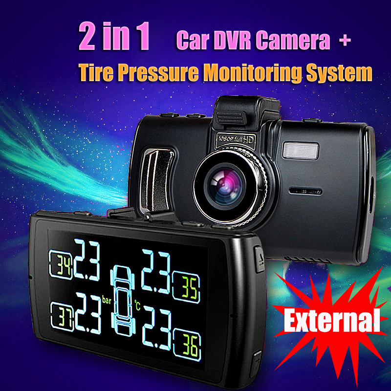2 In 1 Car DVR Camera And Tire Pressure Monitoring System Perfect Combination / Automotive wireless TPMS with Externall Sensors(China (Mainland))