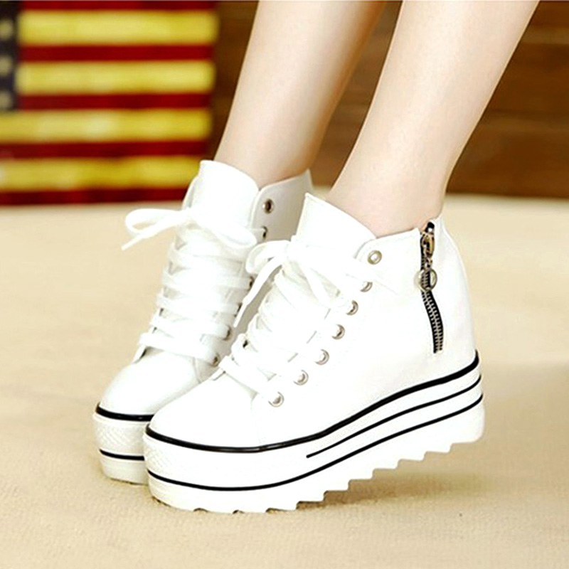 2015 Fashion Womens High Heeled Platform Sneakers Canvas Shoes Elevators White Black High Top Casual Woman with Zipper GZ Ocd2<br><br>Aliexpress
