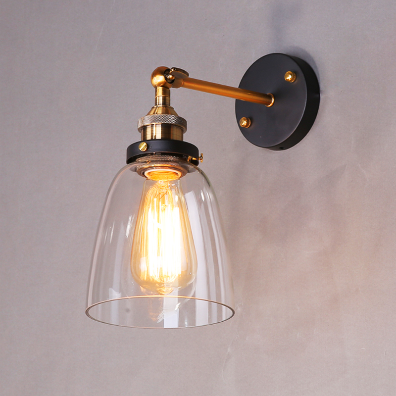 Loft Style Antique Vintage Industrial E27 110V/220V Edison Wall lamps Clear Glass Bedside Wall Lights Fixtures Lighting HM43(China (Mainland))