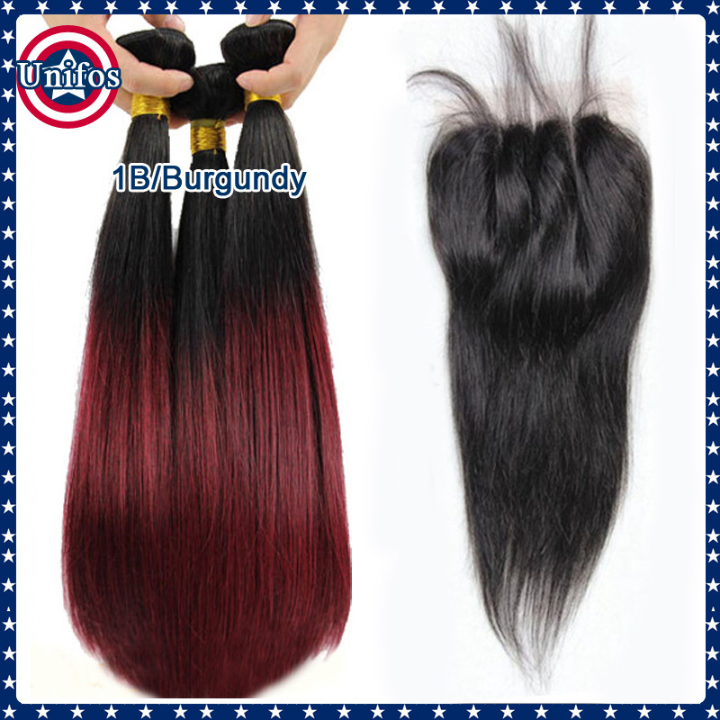 Гаджет  Cheap 6A Peruvian Virgin Hair With Closure Ombre Straight Hair Middle Part Lace Closure With Bundles 4 Pieces Tissage Straight None Волосы и аксессуары