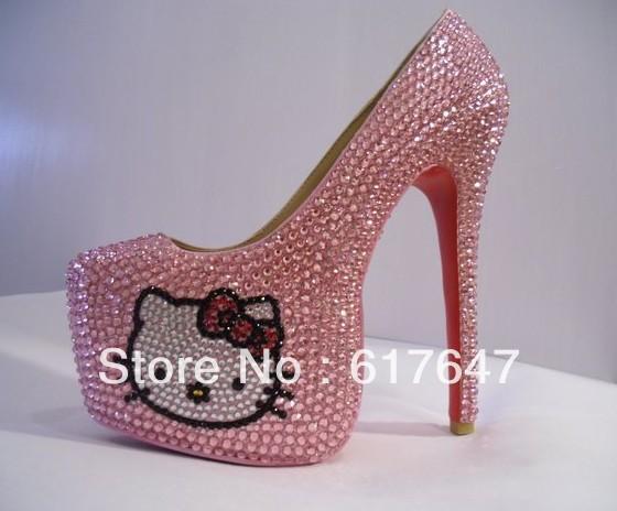 Girls Beautiful Red Bottom Hello Kitty High Heels 16cm High Platform Crystal Pink Pumps Free Shipping(China (Mainland))