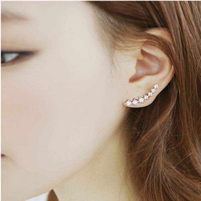 2047 fashion jewelry accessories rhinestone pearl curviplanar earrings stud earring - yingmei jewerly store