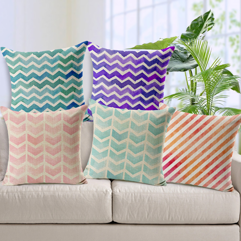 Hot Colorful Geometric Wave Stripe Abstract Decorative Sofa Cushion Cover Case Throw Pillowslip Car 45x45 cm