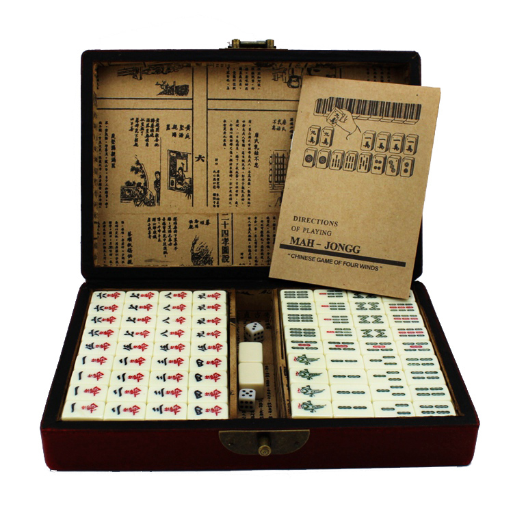 Mahjong Games Set 20mm Mini Mah-jong 144 Solid Tiles +1 Antique Wooden Box Chinese Traditional Classic Games Indoor Board Games<br><br>Aliexpress