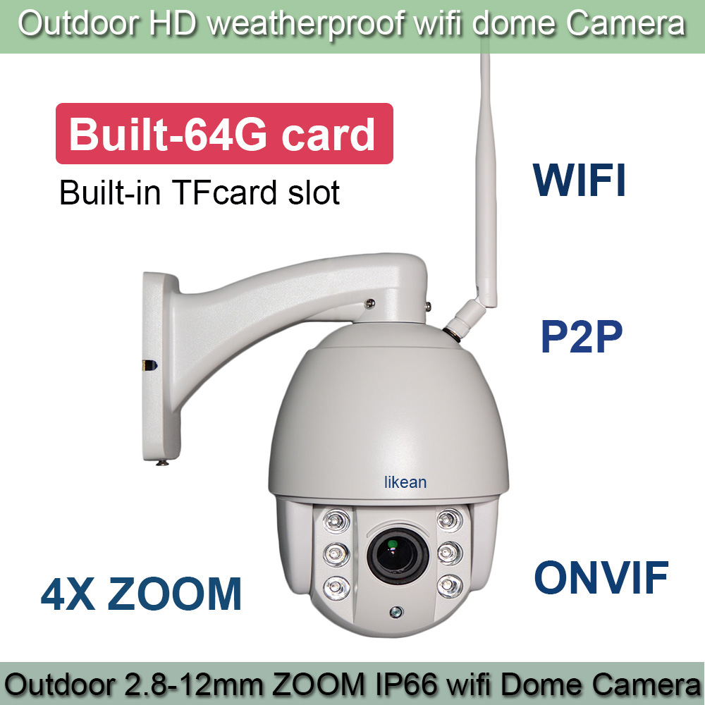 LIKEAN New 1280*960P Mini PTZ IP Camera Outdoor WIFI P2P 4X Zoom 1.3MP HD Network IP CCTV Speed Dome 50M IR Built-in 64G TFCard(China (Mainland))