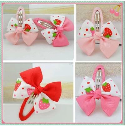 [6382] 2pcs/lot Baby Toddler Girls Hair Clips Ribbon Bow Kids Strawberry Satin Bowknot Hairpin(China (Mainland))