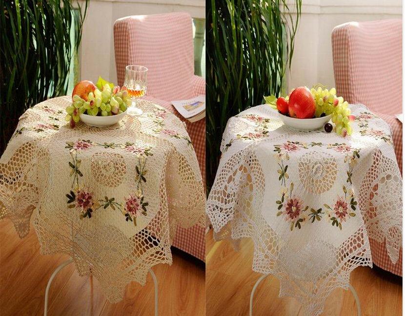 Free shipping 85cm square crochet lace table cloth for - Set de table crochet ...