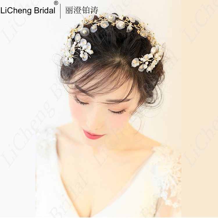 Beautiful pearls silk yarn flower hairpiece with handmade gold bride hoop for marrige 2017