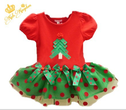 RQ0163 New Arrival 2016 Baby Girls Christmas Dress Girl's Merry Christmas Dress children Cotton red Dot Casual Dress Retail(China (Mainland))