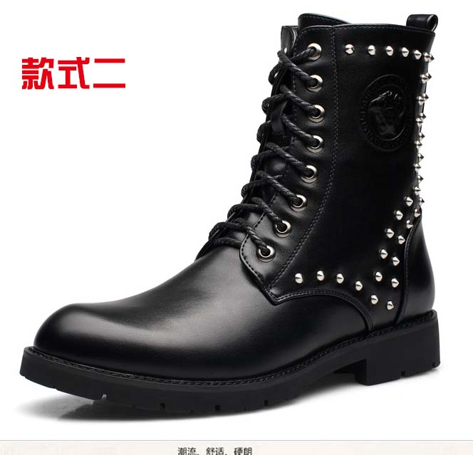 FREE SHIPPING COST –2015 NEW TOP Fashion COOL -WINTER  MEN PUNK BOOT Rivets ROCK BAND boot  ARMY BOOT PU LEATHER