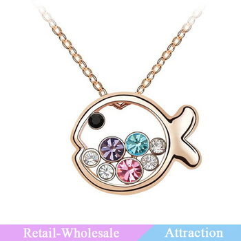 Fashion jewelry imported crystal platinum plating small fish shaped design necklace with rhinestone necklace
