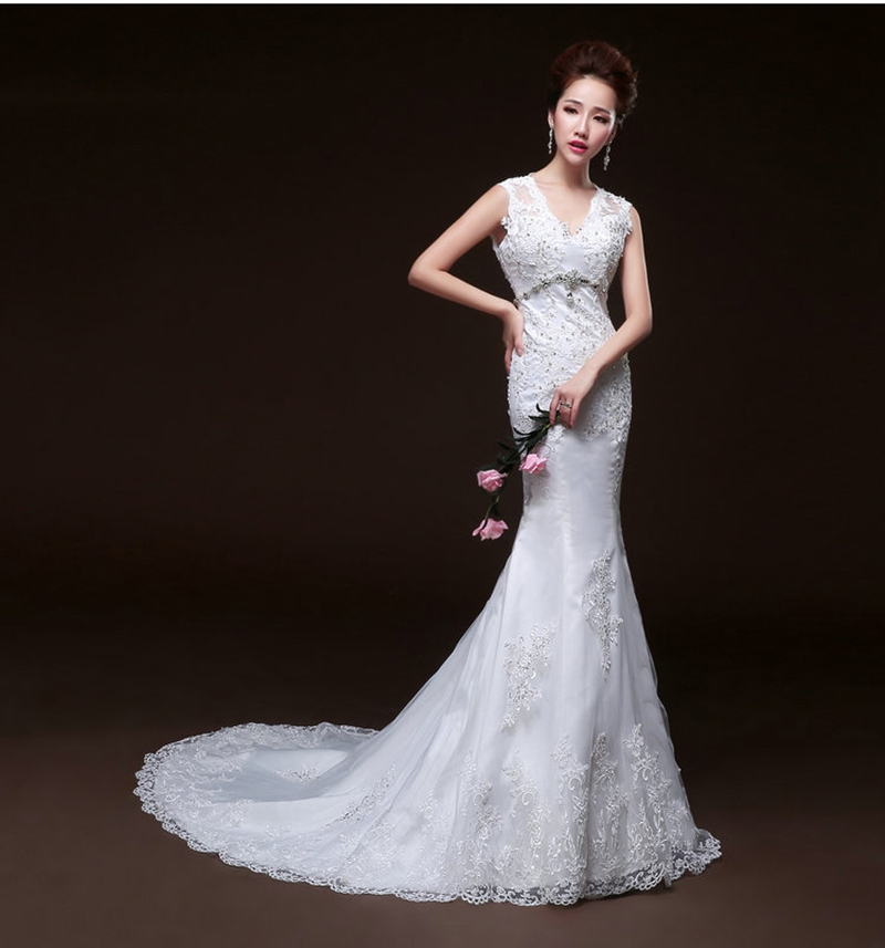 Fishtail Wedding Dress With Train : Fish tail long train wedding dress bride formal