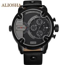Aliosha WEIDE cuarzo relojes de primeras marcas de lujo de gran tamaño de cuero militar relojes 30 metros resistente al agua relogio masculino