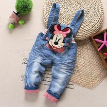 Free shipping 2016 spring new female child cartoon gentlewomen bib pants jeans baby girls trousers,Children Rompers(China (Mainland))