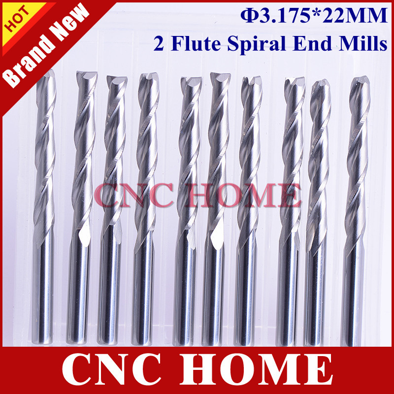 10 pcs/lot 3.175*22mm 2 Flutes Carbide Endmill, Spiral Milling Cutter, Wood Router Bits, Cutting Tools CNC Machine Engraving - Shanghai HOME Ltd. Co. store
