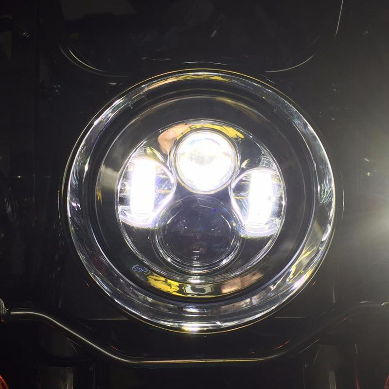 GENSSI LED Headlight Fits Chopper Motorcycles Single 7 Inch Round Projector LED Headlight Black(China (Mainland))