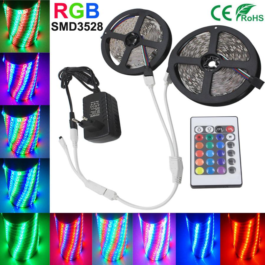 5M 10M RGB LED Strip Light SMD2835 3528 Waterproof Tape Led RGB Strip Flexible Diode Ribbon 15m 20m for 24Keys Controller DC12V(China (Mainland))