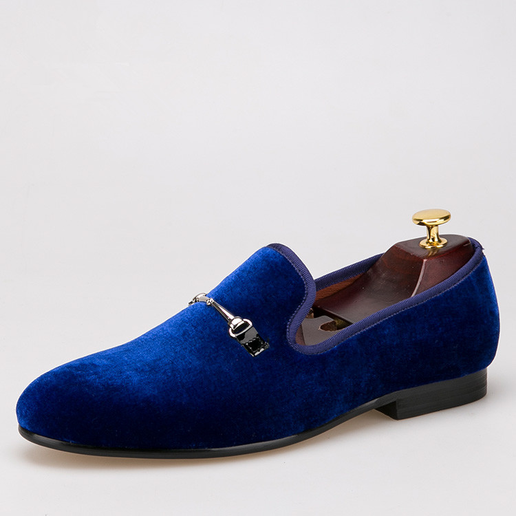 blue men horsebit shoes velvet loafers smoking slippers US size 6-14 free shipping<br><br>Aliexpress