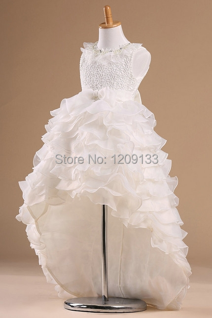 2016 мода первое причастие платья мода из бисера белый органза перед краткое задолго платья Vestido де Comunhao