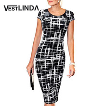 VESTLINDA Summer Office Pencil Midi Dress Short Sleeve Print Bodycon Dress Women Tunic Elegant Vestidos Sheath Ladies Dresses(China (Mainland))