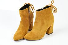Esveva 2020 Phụ Nữ Giày Đàn Mắt Cá Chân Giày Mũi Tròn Mùa Đông Giày Gót Vuông Nữ Đảng Tây Da Lộn Mùa Thu Giày Kích Thước 34-43(China)
